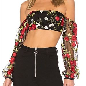 NEW Lovers + Friends Bliss Top Floral Puffy sleeve